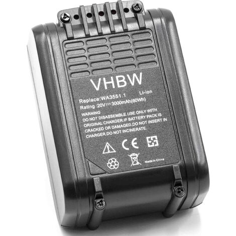 vhbw Battery compatible with Worx WX820, WX822 Electric Power Tools (3000mAh Li-Ion 20V)