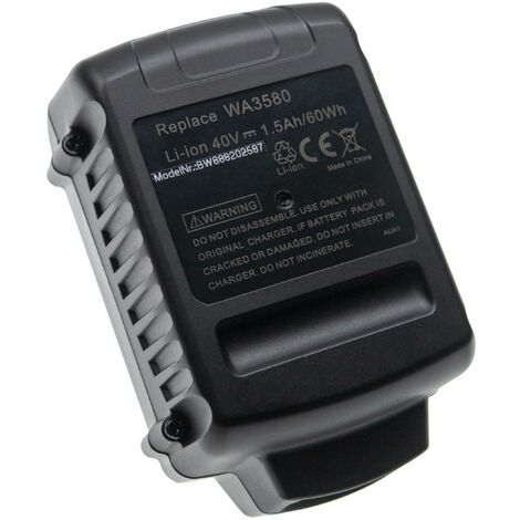 vhbw Battery Replacement for Worx WA3580, WG3580 for Electric Power Tools (1500mAh Li-Ion 40V)