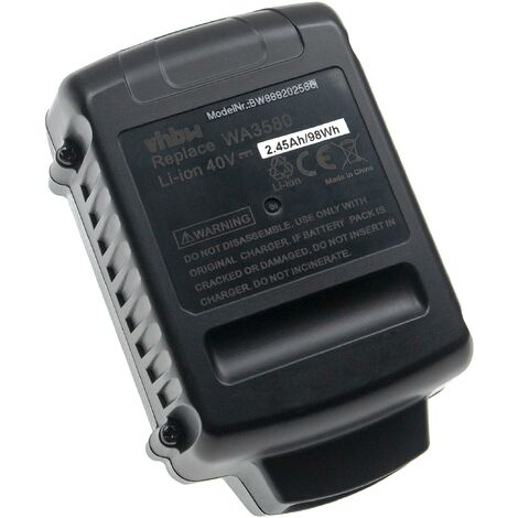 vhbw Battery Replacement for Worx WA3580, WG3580 for Electric Power Tools (2450mAh Li-Ion 40V)