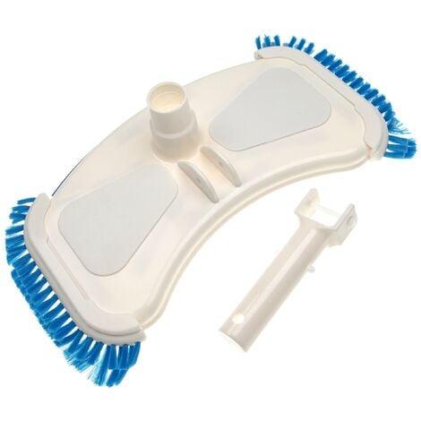 vhbw Brosse de piscine pour pompe, Skimmer - aspirateur avec un raccord de 32/38mm, avec brosse latérale, blanc / bleu