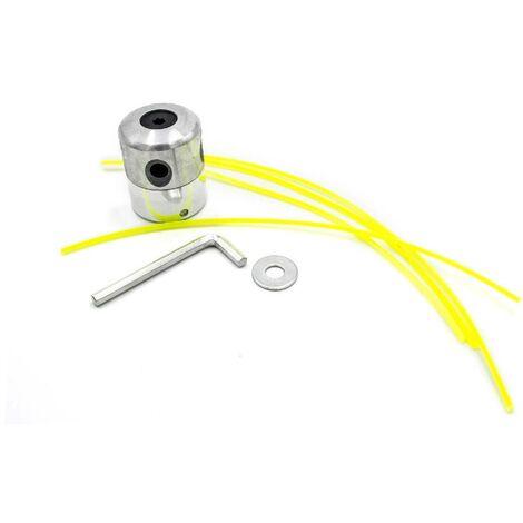 vhbw Cabezal hilo corte doble, cabezal hilo, cabezal de siega de aluminio para desbrozadoras con accesorios e hilo de corte, nailon para M8 y M10