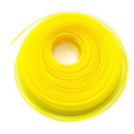 vhbw Câble de coupe 2mm jaune 100m pour tondeuses à gazon et débroussailleuses p.ex. Bosch, Einhell, Gardena, Husqvarna, Makita, Stihl, Wolf Garten