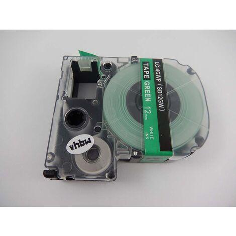 vhbw cartridge label tape 12mm for KingJim SR-PBW1, SR-RK1, SR150, SR180, SR230C, SR300TF, SR330, SR3700P, SR3900C replaces LC-4GWP, SD12GW.