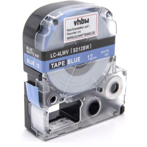 vhbw cartridge label tape 12mm for KingJim SR-PBW1, SR-RK1, SR150, SR180, SR230C, SR300TF, SR330, SR3700P, SR3900C replaces LC-4LWV, SD12BW.