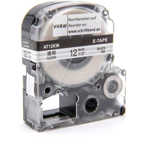 vhbw cartridge label tape 12mm for KingJim SR-PBW1, SR-RK1, SR150, SR180, SR230C, SR300TF, SR330, SR3700P, SR3900C replaces LC-4TBW, ST12KW.