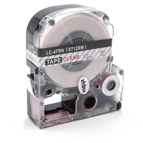 vhbw cartridge label tape 12mm for KingJim SR-PBW1, SR-RK1, SR150, SR180, SR230C, SR300TF, SR330, SR3700P, SR3900C replaces LC-4TRN, ST12RW.