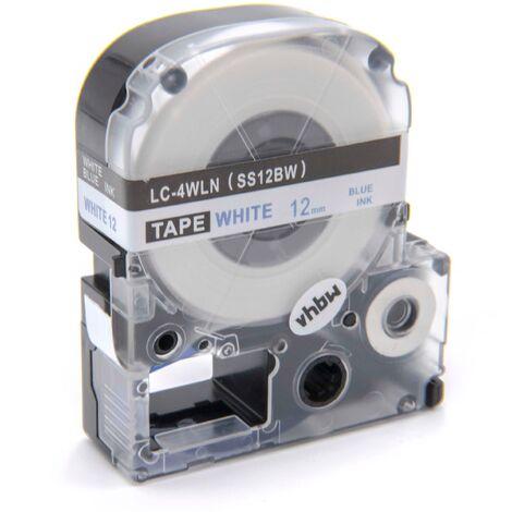 vhbw cartridge label tape 12mm for KingJim SR-PBW1, SR-RK1, SR150, SR180, SR230C, SR300TF, SR330, SR3700P, SR3900C replaces LC-4WLN, SS12BW.