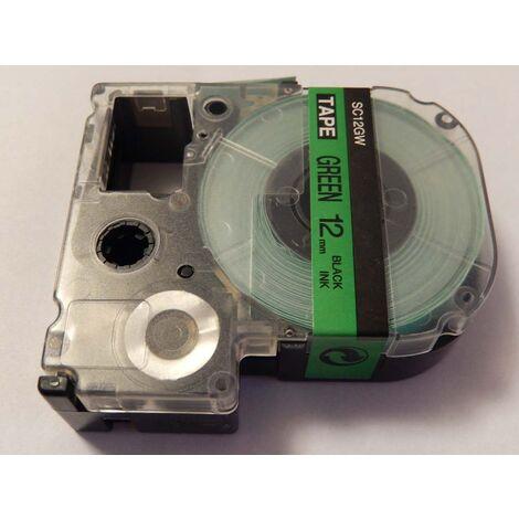 vhbw cartridge label tape 12mm for KingJim SR330, SR6700D, SR3900P, SR950, SR750 replaces LC-4GBP, SC12GW.