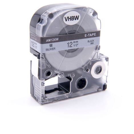 vhbw cartridge label tape 12mm for KingJim SR330, SR6700D, SR3900P, SR950, SR750 replaces LC-4SBE, SM12X, SM12XC.