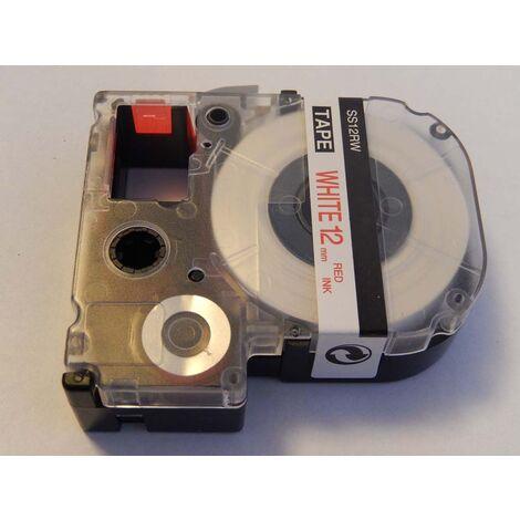 vhbw cartridge label tape 12mm for KingJim SR3700P, SR550, SR530, SR330, SR6700D, SR3900P, SR950, SR750 replaces LC-4WRN, SS12RW.