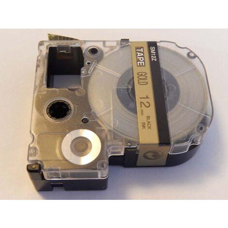 vhbw cartridge label tape 12mm for KingJim SR530, SR330, SR6700D, SR3900P, SR950, SR750 replaces LC-4KBM, SM12Z, SC12KW.