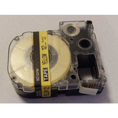 vhbw cartridge label tape 12mm for KingJim SR550, SR530, SR330, SR6700D, SR3900P replaces LC-4WBW, SC12YW.