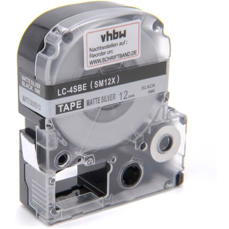 vhbw cartridge label tape 12mm suitable for KingJim SR-PBW1, SR-RK1, SR150, SR180, SR230C, SR300TF, SR330, SR3700P, SR3900C replaces LC-4SBE.