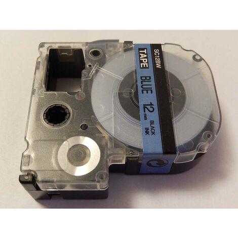 vhbw cartridge label tape 12mm suitable for KingJim SR330, SR6700D, SR3900P, SR950, SR750 replaces LC-4LBP, SC12BW.