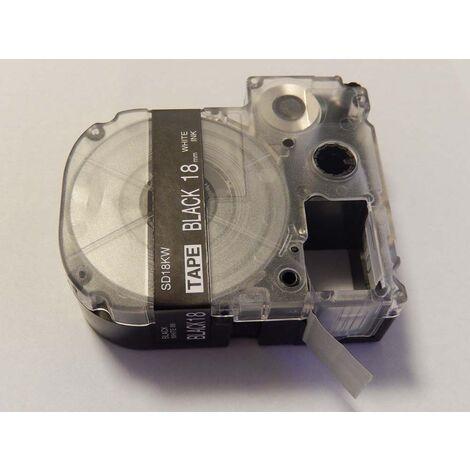 vhbw cartridge label tape 18mm for KingJim SR550, SR530, SR330, SR6700D, SR3900P replaces LC-5BWV, SD18KW.