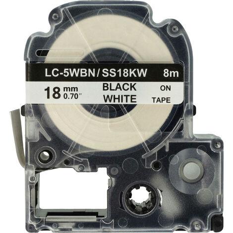 vhbw cartridge label tape 18mm for KingJim SR550, SR530, SR330, SR6700D, SR3900P replaces LC-5WBN, SS18KW.