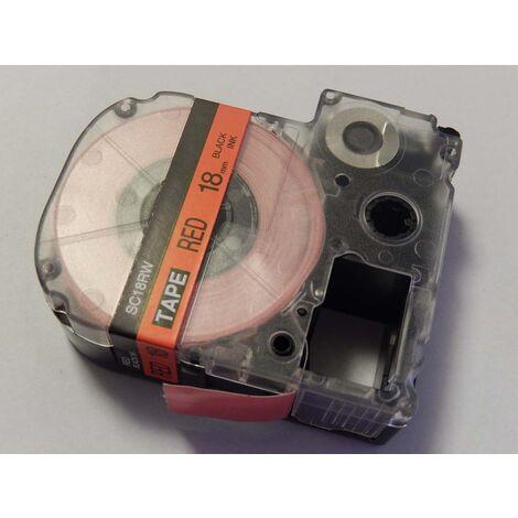 vhbw cartridge label tape 18mm for KingJim SR550, SR530, SR330, SR6700D, SR3900P replaces LC-5YRN, SR18KW.
