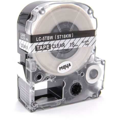 vhbw cartridge label tape 18mm suitable for KingJim SR-PBW1, SR-RK1, SR150, SR180, SR230C, SR300TF, SR330, SR3700P, SR3900C replaces LC-5TBW, ST18KW.