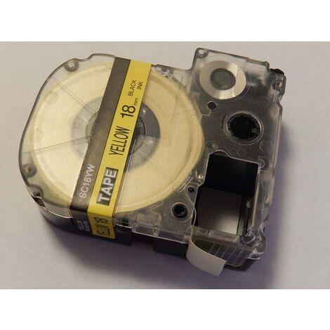 vhbw cartridge label tape 18mm suitable for KingJim SR550, SR530, SR330, SR6700D, SR3900P replaces LC-5YBW, SC18YW.