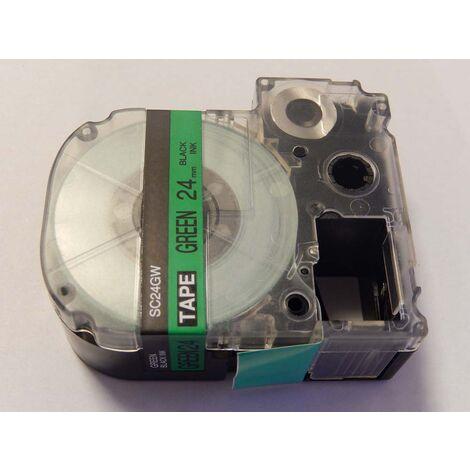vhbw cartridge label tape 24mm for KingJim SR530C, SR3900C, SR550, SR530, SR330 replaces LC-6GBP, SC24GW.