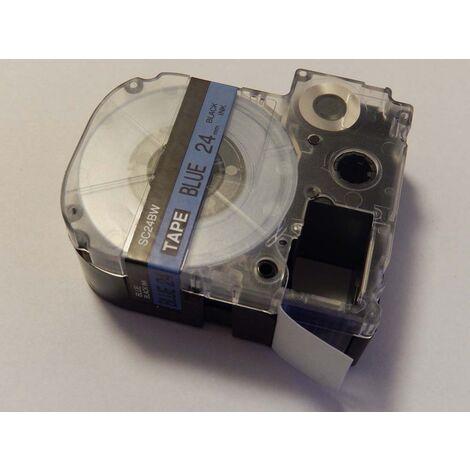 vhbw cartridge label tape 24mm for KingJim SR530C, SR3900C, SR550, SR530, SR330 replaces LC-6LBP, SC24BW.
