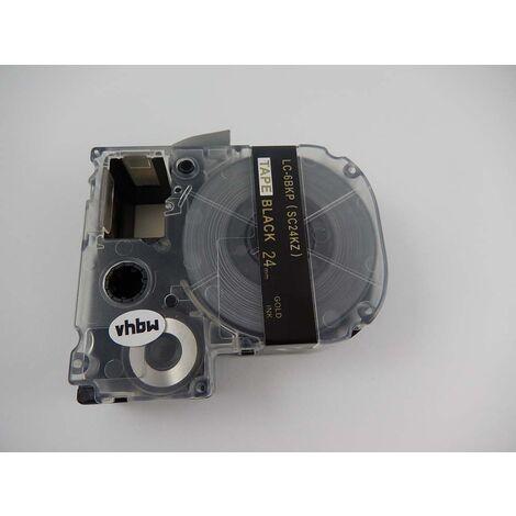 vhbw cartridge label tape 24mm suitable for KingJim SR330, SR3900C, SR3900P, SR530, SR530C, SR550, SR6700D, SR750, SR950 replaces LC-6BKP, SC24KZ.