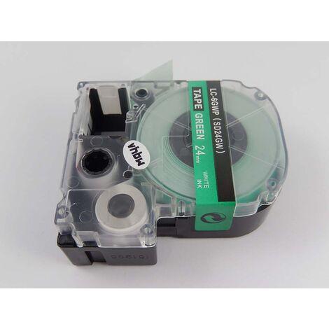 vhbw cartridge label tape 24mm suitable for KingJim SR330, SR3900C, SR3900P, SR530, SR530C, SR550, SR6700D, SR750, SR950 replaces LC-6GWP, SD24GW.