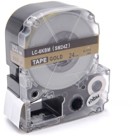 vhbw cartridge label tape 24mm suitable for KingJim SR330, SR3900C, SR3900P, SR530, SR530C, SR550, SR6700D, SR750, SR950 replaces LC-6KBM, SM24Z.