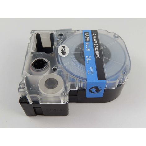 vhbw cartridge label tape 24mm suitable for KingJim SR330, SR3900C, SR3900P, SR530, SR530C, SR550, SR6700D, SR750, SR950 replaces LC-6LWV, SD24BW.