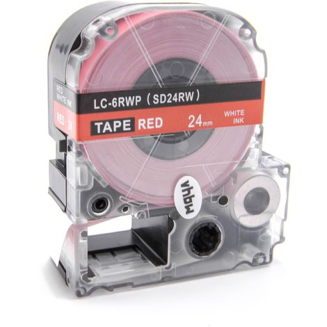 vhbw cartridge label tape 24mm suitable for KingJim SR330, SR3900C, SR3900P, SR530, SR530C, SR550, SR6700D, SR750, SR950 replaces LC-6RWP, SD24RW.