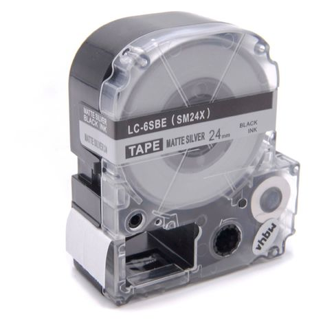 vhbw cartridge label tape 24mm suitable for KingJim SR330, SR3900C, SR3900P, SR530, SR530C, SR550, SR6700D, SR750, SR950 replaces LC-6SBE, SM24X.