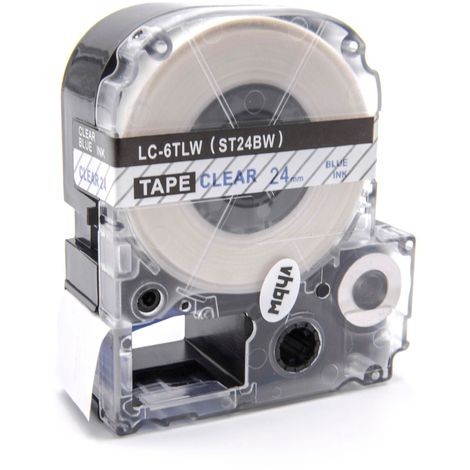 vhbw cartridge label tape 24mm suitable for KingJim SR330, SR3900C, SR3900P, SR530, SR530C, SR550, SR6700D, SR750, SR950 replaces LC-6TLW, ST24BW.