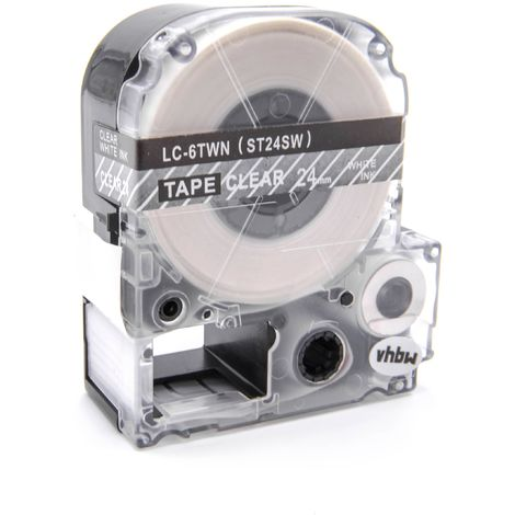 vhbw cartridge label tape 24mm suitable for KingJim SR330, SR3900C, SR3900P, SR530, SR530C, SR550, SR6700D, SR750, SR950 replaces LC-6TWN, ST24S.