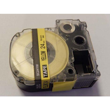 vhbw cartridge label tape 24mm suitable for KingJim SR530C, SR3900C, SR550, SR530, SR330 replaces LC-6YBW, SC24YW.