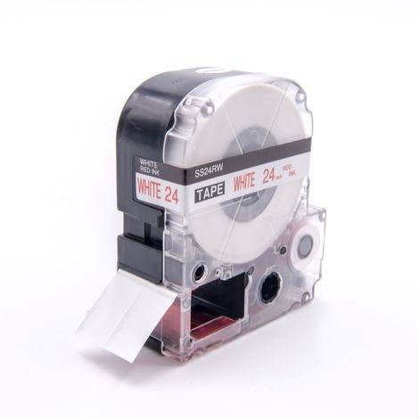 vhbw cartridge label tape 24mm suitable for KingJim SR530C, SR3900C, SR550, SR530, SR330, SR6700D, SR3900P replaces LC-6WRN, SS24RW.