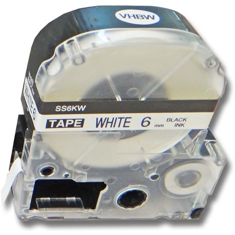 vhbw cartridge label tape 6mm for KingJim SR-PBW1, SR-RK1, SR150, SR180, SR230C, SR300TF, SR330, SR3700P replaces LC-2WBN, SS6KW.