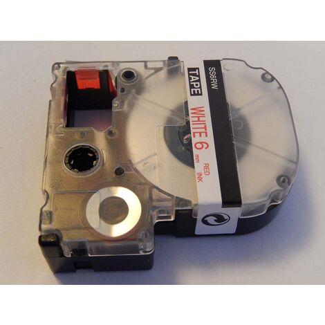 vhbw cartridge label tape 6mm for KingJim SR3700P, SR550, SR530, SR330, SR6700D, SR3900P, SR950, SR750 replaces LC-2LBP, SS6RW.