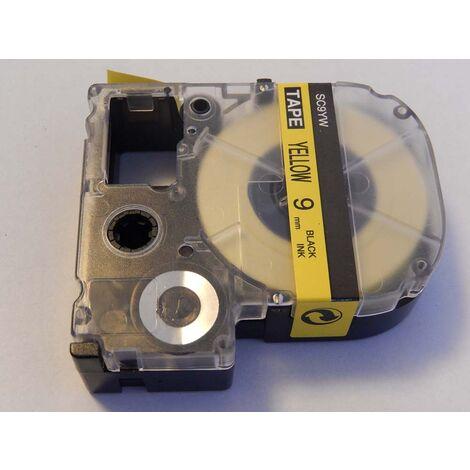 vhbw cartridge label tape 6mm for KingJim SR3700P, SR550, SR530, SR330, SR6700D, SR3900P, SR950, SR750 replaces LC-3YBW, SC9GW.