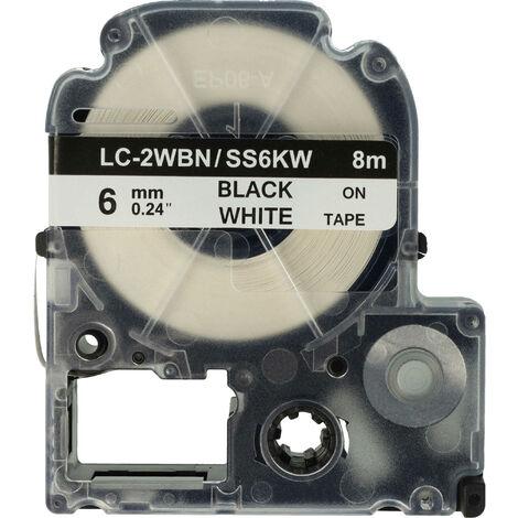 vhbw cartridge label tape 6mm for KingJim SR550, SR530, SR330, SR6700D, SR3900P replaces LC-2WBN, SS6KW.