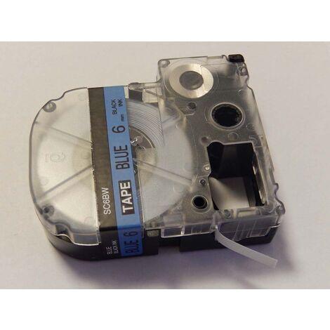 vhbw cartridge label tape 6mm suitable for KingJim SR550, SR530, SR330, SR6700D, SR3900P replaces LC-2LBP, SC6BW.