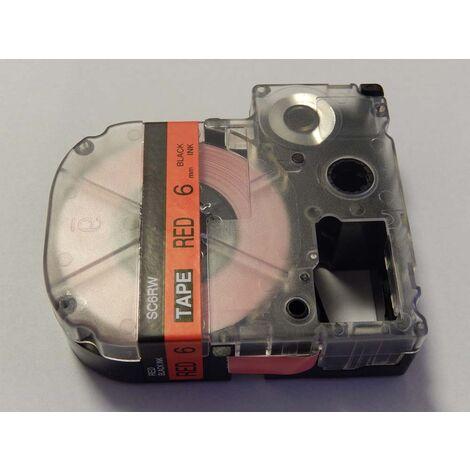 vhbw cartridge label tape 6mm suitable for KingJim SR550, SR530, SR330, SR6700D, SR3900P replaces LC-2RBP, SC6RW.