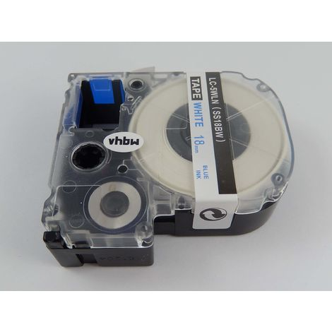 vhbw cartridge label tape 8mm suitable for KingJim SR-PBW1, SR-RK1, SR150, SR180, SR230C, SR300TF, SR330, SR3700P, SR3900C replaces LC-5WLN, SS18BW.
