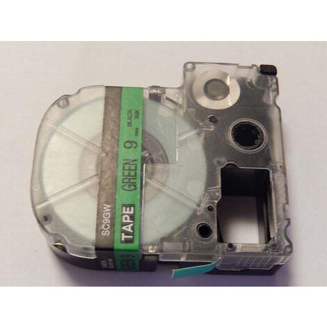 vhbw cartridge label tape 9mm for KingJim SR550, SR530, SR330, SR6700D, SR3900P replaces LC-3GBP, SC9GW.