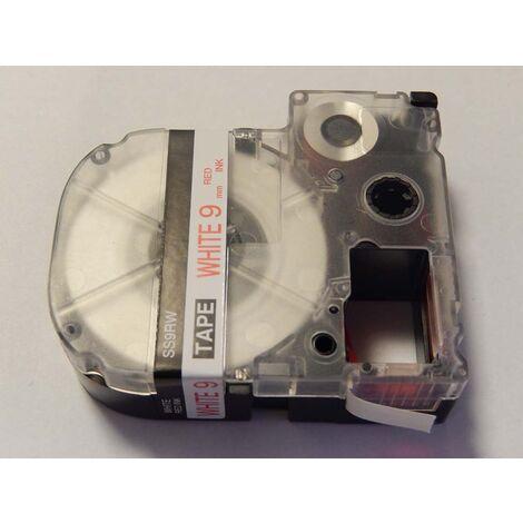 vhbw cartridge label tape 9mm for KingJim SR550, SR530, SR330, SR6700D, SR3900P replaces LC-3WRN, SS9RW.
