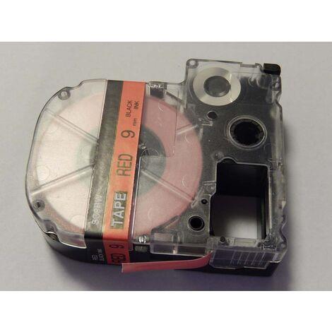 vhbw cartridge label tape 9mm suitable for KingJim SR550, SR530, SR330, SR6700D, SR3900P replaces LC-3YRN, SC9RW.