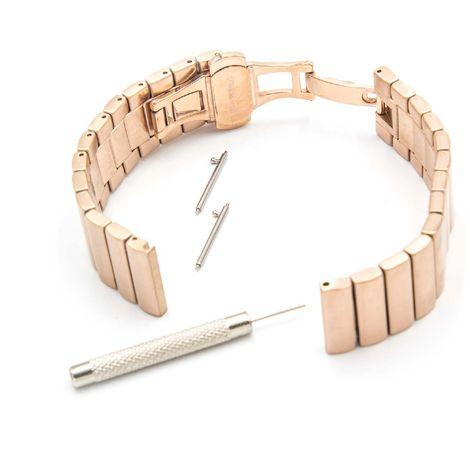 vhbw Cinturino di ricambio compatibile con Motorola Moto 360 2nd Generation, 46mm Men smartwatch fitness-tracker 17,5cm oro rosa