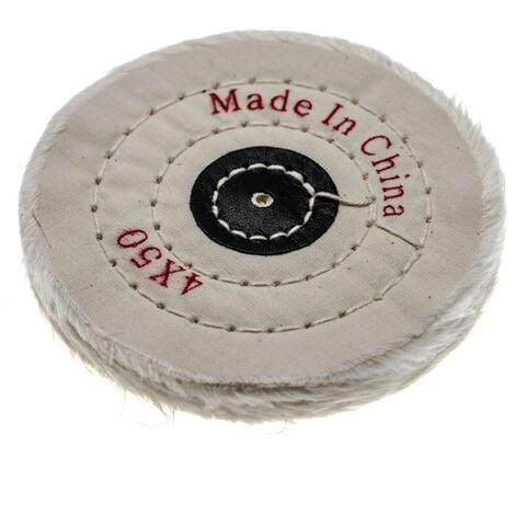 vhbw Disco para todas las amoladoras angulares comunes, taladros - almohadillas de repuesto con diámetro de 10 cm, color crema, algodón