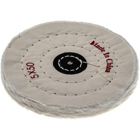 vhbw Disco para todas las amoladoras angulares comunes, taladros - almohadillas de repuesto con diámetro de 12,5 cm, color crema, algodón