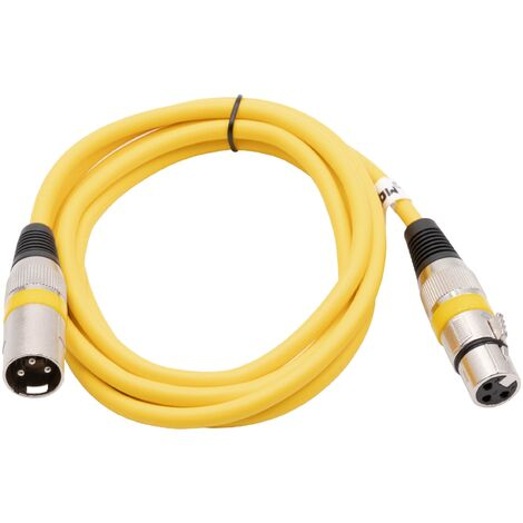 vhbw DMX Cable XLR Male Plug to XLR Female Socket compatible with Spotlights, Stage Lighting, Party Lights - 3 Pins, PVC Shielding, yellow, 2m