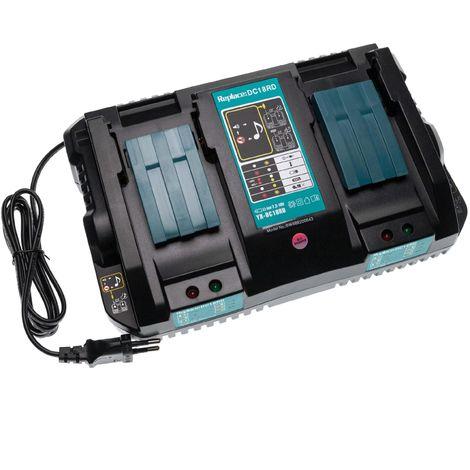 vhbw Double Chargeur compatible avec Makita DA340DRF, DDA340RMJ, DDF446RMJ, DDF448RMJ, DF440, DF440DRFX, DF440DRFXW d'outils - batteries de Li-Ion